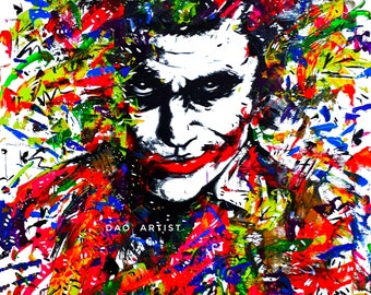 JOKER Abstract Colorful Glow Art Painting Artwork with Fluorescent Oil and Acrylic on Canvas