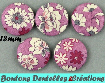 Covered buttons fabric rustle - small flowers - 18mm - (18-31)