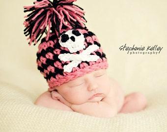 Pink Pirate Hat Baby Newborn Crochet Photography Prop
