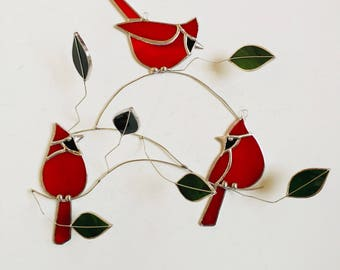 NEW for 2018 --Stained glass cardinal trio grouping with leaves on tinned branches