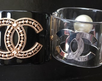 Chanel inspired Lucite Cuff Bracelet logo BLACK with gold hardware large (no pearl) clear silver with pearl