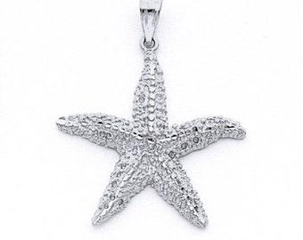 Sterling Silver starfish pendant, starfish, sealife jewelry, starfish charm,