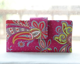 Women's Wallet   Last one Handmade wallet deep pink with paisley henna type floral design