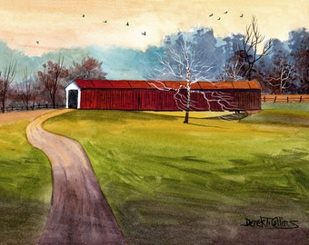 Covered Bridge Painting Original Watercolor landscape Painting PRINT Indiana country road trees Original Painting 8x10 GICLEE