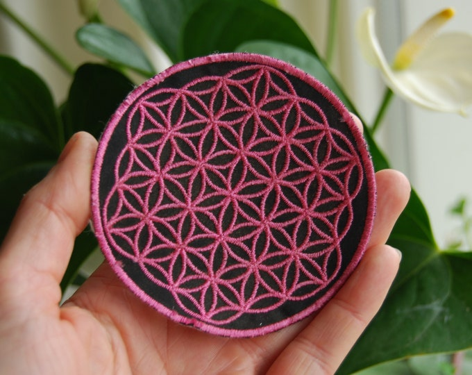 Pink Flower of Life Patch Embroidery