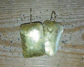 Hammered Brass rectangular Earrings