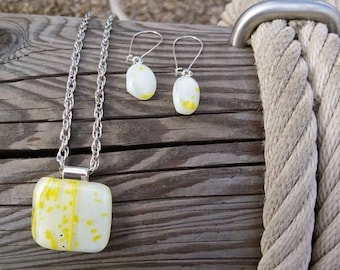 Unique Glass jewel-white with yellow pendant-necklace-earrings-sets-glass jewellery-Fused glass jewel