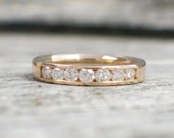 14K Yellow Gold Diamond Channel Set Band Wedding Ring