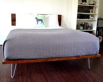 Platform Bed And Headboard Queen Size On Hairpin Legs Minimal Design NEW LOWER PRICING