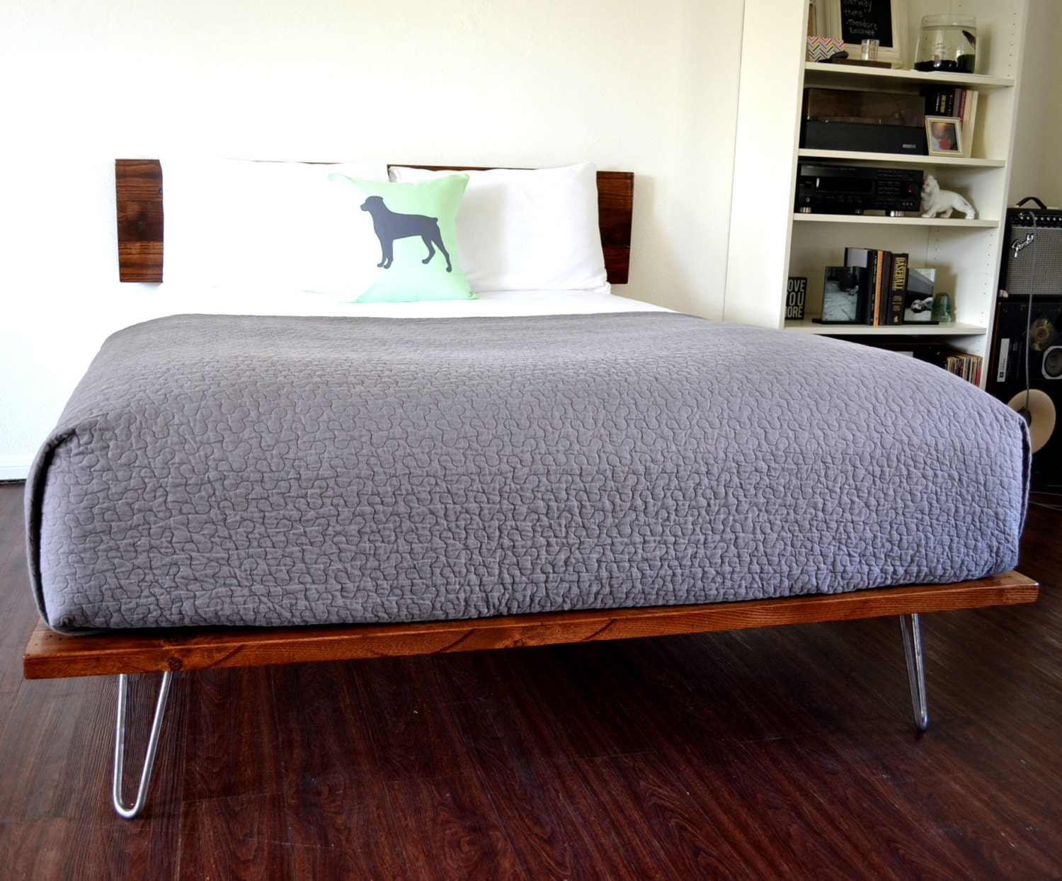 🔎zoom. platform bed and headboard queen size on hairpin legs minimal