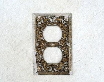 vintage antique gold tone filigree light switch outlet cover