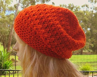 Orange Slouchy Hat, Womens Slouchy Beanie, Slouch Hat, Ladies Beanie