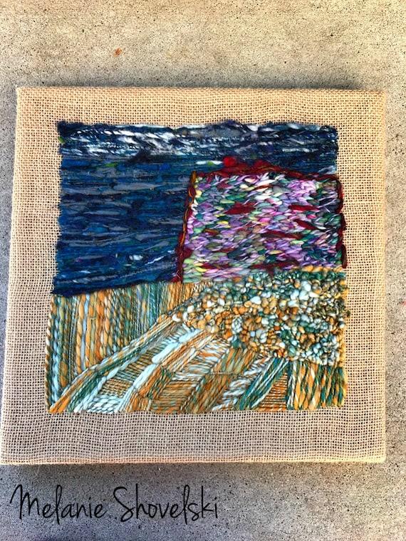 Wyoming Western Mesa Landscape Original Embroidery Original Fiber Art Folk Art