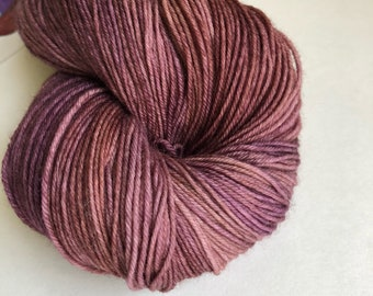 Figgy Pudding colorway hand dyed sock yarn