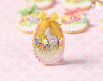 "MTO-Easter Egg Shortbread Sablé ""Basket"" Cookie (I) - Miniature Food in 12th Scale for Dollhouse"