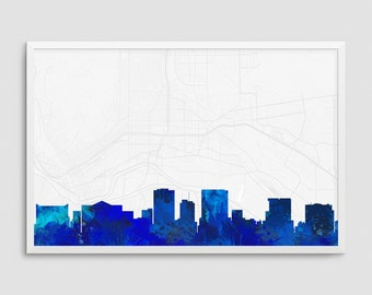 El Paso Texas Cityscape and Street Map Blue Watercolor Art Print Office or Home Wall Decor