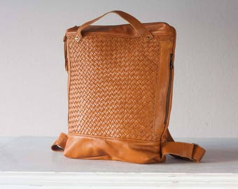 Brown hand woven leather backpack, laptop backpack work simple soft leather bag with zipper knapsack macbook 13 daypack - The Minos Bag