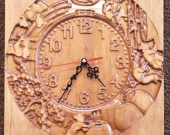 wood carved wall clock, clock wood carved