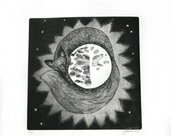 Fox and Moon original print Photo etching with aquatint black and white