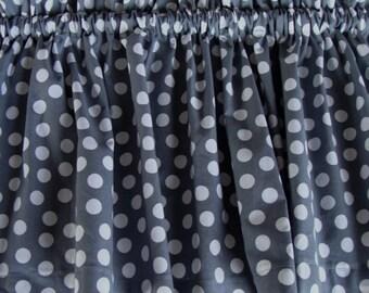 Gray with White Polka Dots Valance Window Treatment Curtain 42 X 14