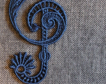 Treble Clef Lace Bookmark Music Navy Blue Embroidery