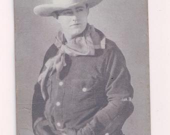 Roy Hughes Cowboy Exhibit Salutation Arcade Card Blank Back