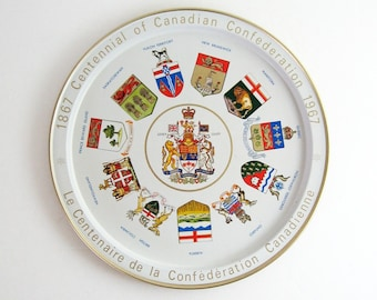 Canada Centennial Souvenir Vintage Round Metal Serving Tray - Canadian Coat of Arms - Mid Century Modern Home Decor - Red and White Tray