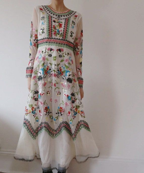 Floral Dress Summer Sheer Vintage Dress Long Dress Floral Dress Maxi Frida Dress Kahlo Dress Wedding White Tulle Party Embroidered w8qOxp48