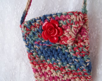 Red Cream and Blue Ditty Bag with a Red Rose Button Crocheted with 100% Cotton Yarn