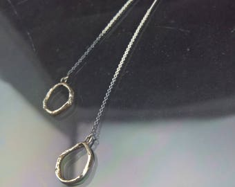 Minimalist Threader Earrings  Chain Earrings  Rustic jewelry  Raw  Gift for her Simple  silver  earrings Drop earrings  Oxidized or Polished