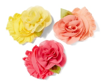 Yellow and Peach Flower Hair Clip Set of 3