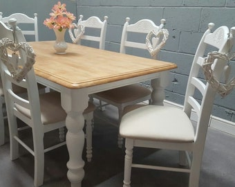 Exquisite Table and Chair Set - Cream-White-Off White-Grey Finish