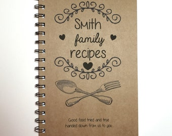 Recipe Book, Family Recipes, Kitchen Book, Recipe Notebook, Personalized, Notebook, Recipe Holder, Gift, Fork and Spoon, Recipe