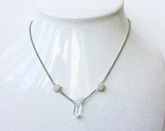 "Rose Quartz and Clear Quartz 16"" Adjustable Necklace"