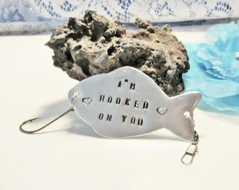 Hooked on you Fishing Lure, Personalized Fish hook, Fisherman Gift, Personalized Fishing Lure, Gifts for Dad, Customized Fishing Hook