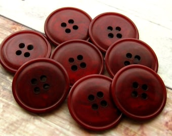"""Dark Red Coat Buttons 21mm - Set of 8 - 13/16"""" Marbled Red Vintage Buttons, Large Cranberry Plastic Buttons, 21mm Maroon Buttons  (VB0002)"""