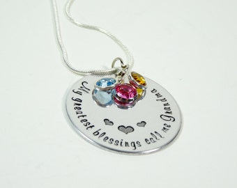 Hand stamped grandmothers necklace! My greatest blessings call me grandma! Grandma necklace! Personalized grandma gift