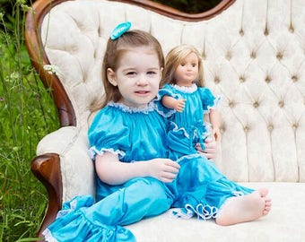 Princess Jammies - Electric Blue w/White Lace - Newborn to Adult Sized Tricot Pajamas - Pick A Color!