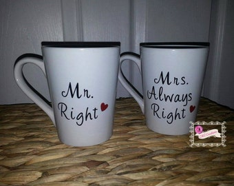 Mr & Mrs always Right his and hers Coffee Mug set Great mugs for anniversary wedding bridal shower gift Husband wife engagement couple set