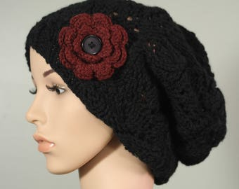 Super Slouchy Hat with or without Flower - Black - Handknit Cap - Women's - Cranberry Flower - Interchangeable