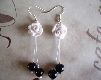 Earrings Fimo flower beads different patterns / colors ceremony evening wedding parties