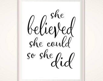 PRINTABLE She Believed Poster - Marathon Gift, She Believed She Could So She Did Print, Printable Typographic Print, Inspirational Quote