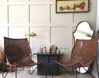 Mid Century Modern Chair, Wicker Sling Back Lounge Chair, Frederick Weinberg-like Chairs, Woven Low Chair with Metal Legs