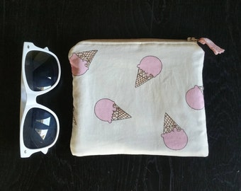 Pink Snow Cone Ice Cream Shave Ice Waffle Cone Zipper Bag