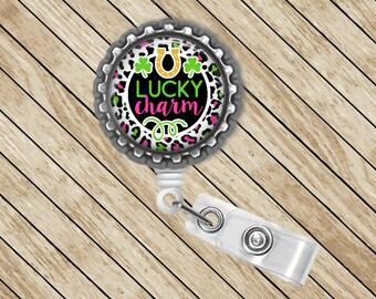 Lucky Charm, Badge Reel, ID Badge Reel, Retractable Badge Holder, Badge Clip, Nurse Gift, Cute Badge Reel, Felt Badge Reel, St Patrick's Day
