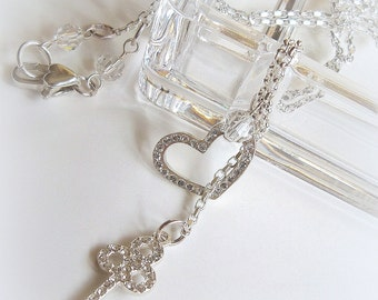 Key to my Heart Necklace, Key and Heart Charms, Sterling Silver with Swarovski Crystals