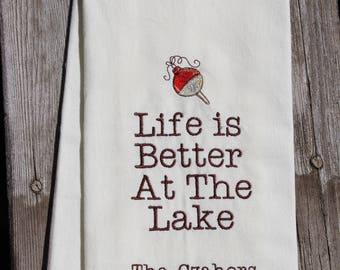 Hostess Gift, Dish Towel with Vintage Bobber for the Cabin, Cottage or Lake, Embroidered, Life Is Better At The Lake