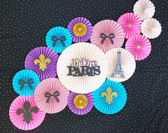 Paris Theme Backdrop, Paper Fans, Paper Rosettes, Bridal Shower Decor, Paris Theme Baby Shower, 1st Birthday Decor, Sweet Sixteen Birthday