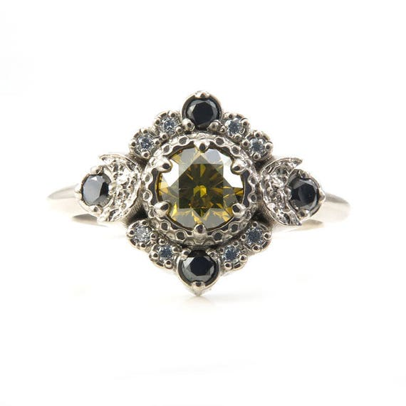 Irradiated Yellow Diamond Engagement Ring - Crescent Moons with a Black and White Diamond Halo