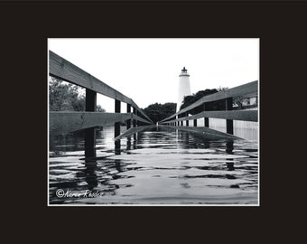 Ocracoke Island Lighthouse Flood Tide Photographic Print matted in black North Carolina